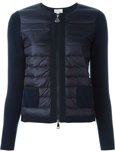 'Maglia' Quilted Down Front Tricot Cardigan, Blue