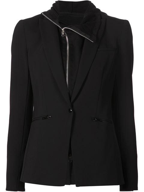 Long & Lean Blazer Jacket, Black, White