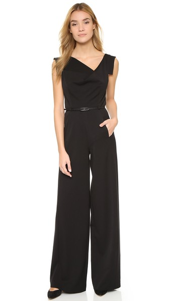 BLACK HALO Jackie Cap-Sleeve Belted Wide-Leg Jumpsuit in Black