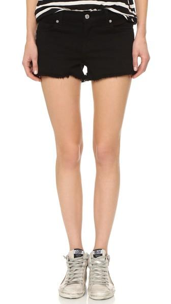 Cut-Off Denim Shorts, Black
