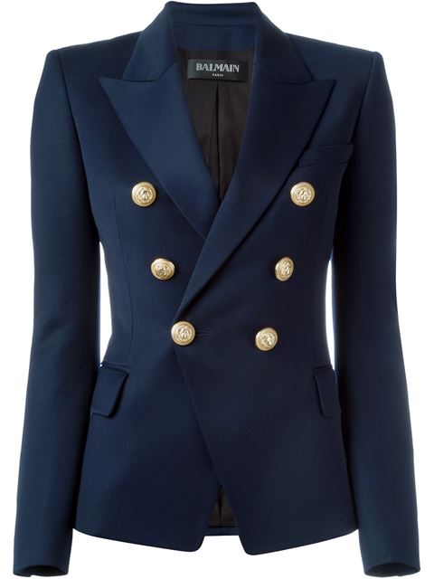 BALMAIN Double-Breasted Peak-Lapel Virgin-Wool Blazer in C3300 Marin