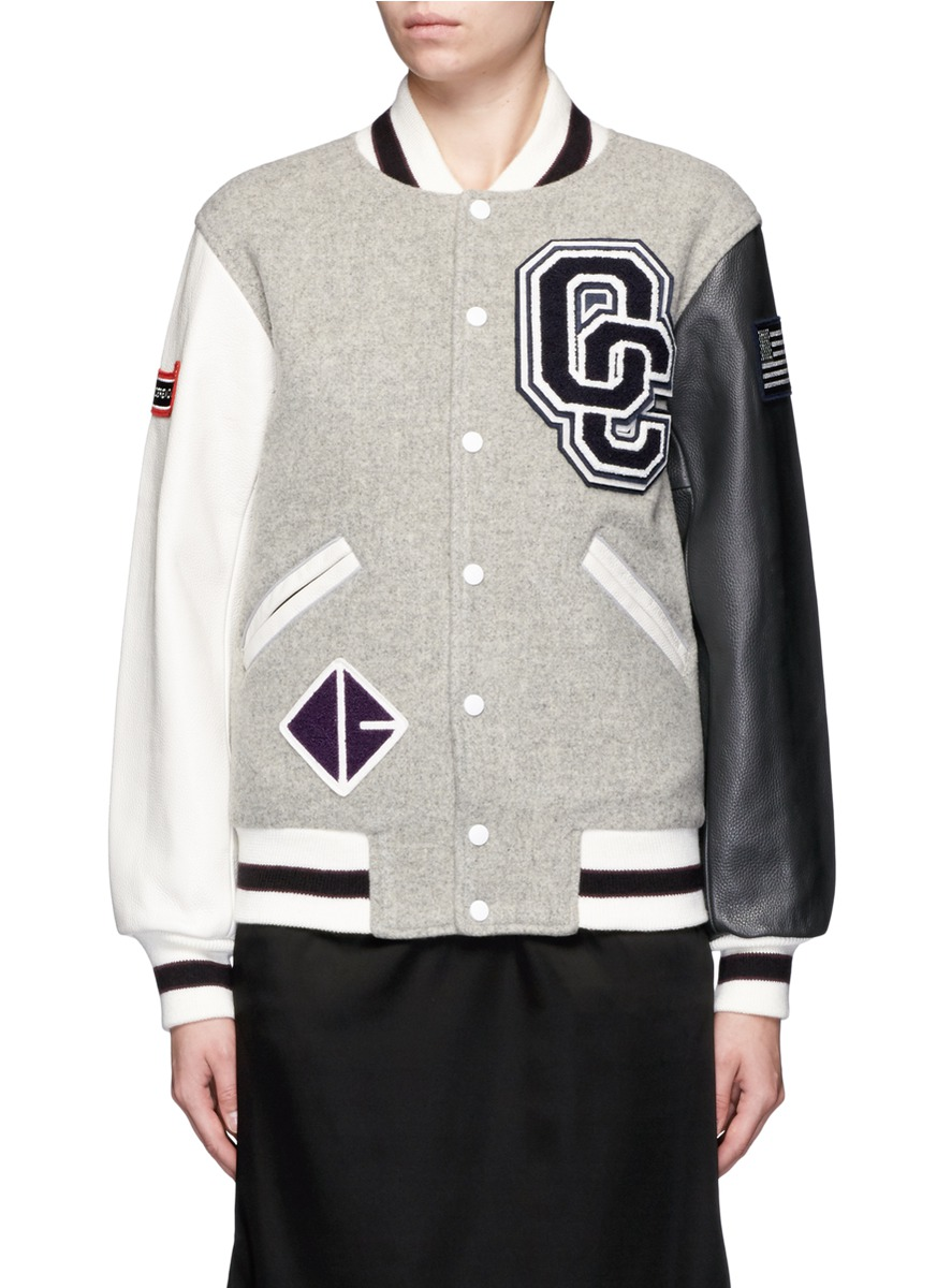 Classic Varsity Jacket In Wool Blend And Leather, Light Grey Multi
