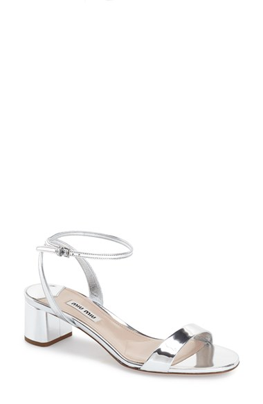 Miu Miu Metallic Ankle Strap Sandals