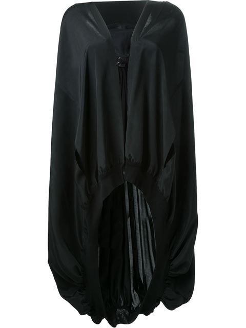 Yohji Yamamoto Gathering Details Hooded Cape - Black