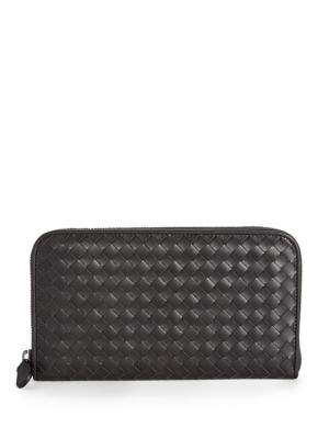 BOTTEGA VENETA Intrecciato Leather Zip-Around Wallet, Espresso