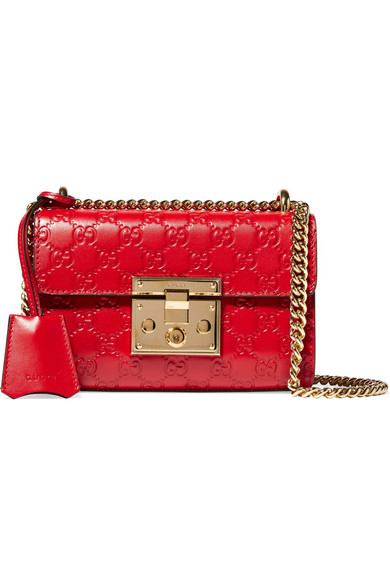 Padlock Embossed Leather Shoulder Bag in Red