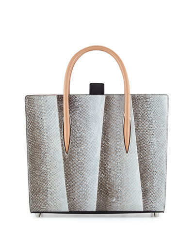 CHRISTIAN LOUBOUTIN Paloma Fish Scale Medium Tote Bag, Gray