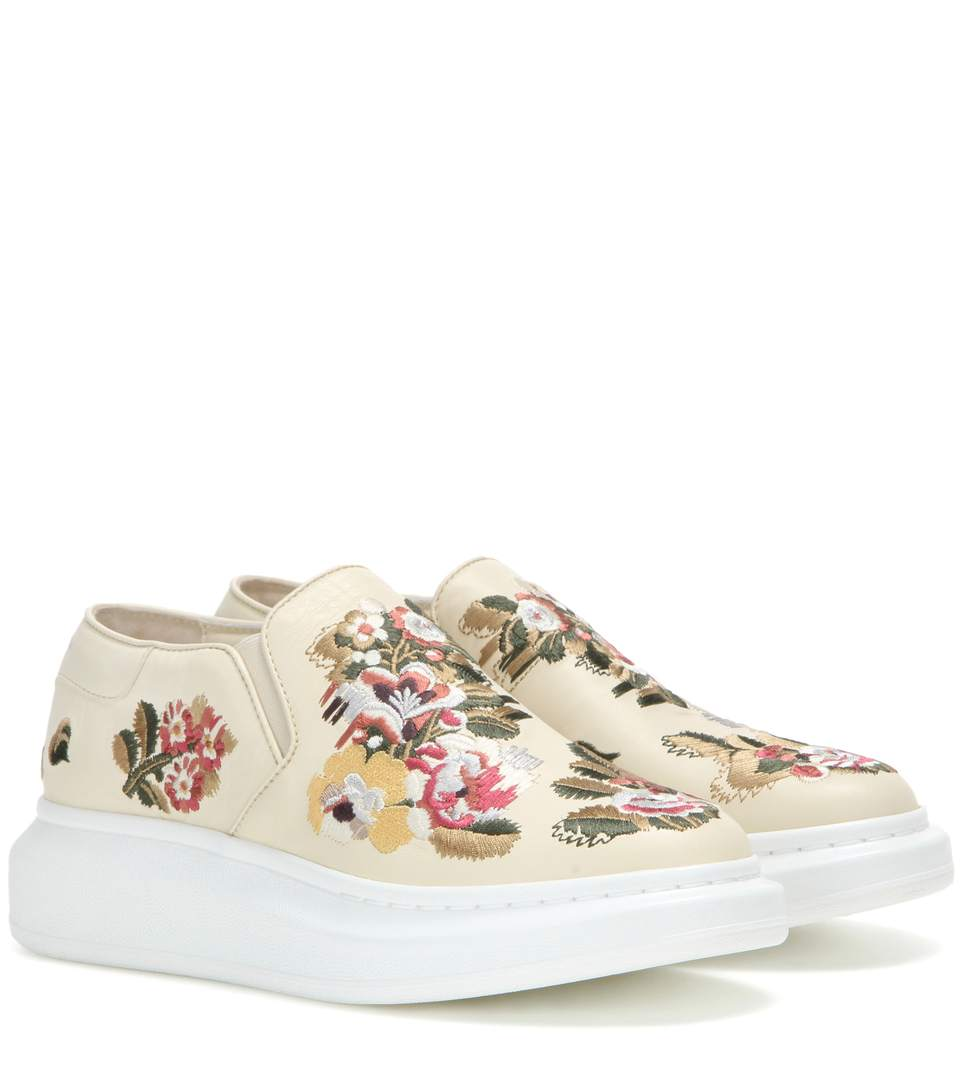 Store Sale With Mastercard Cheap Price Alexander McQueen Embroidered Platform Slip-On Sneakers View Discount Top Quality Cheap Get To Buy f1gyx2