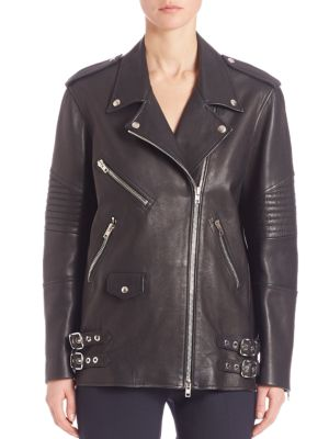 Corduroy-Trimmed Leather And Shell Biker Jacket in Black