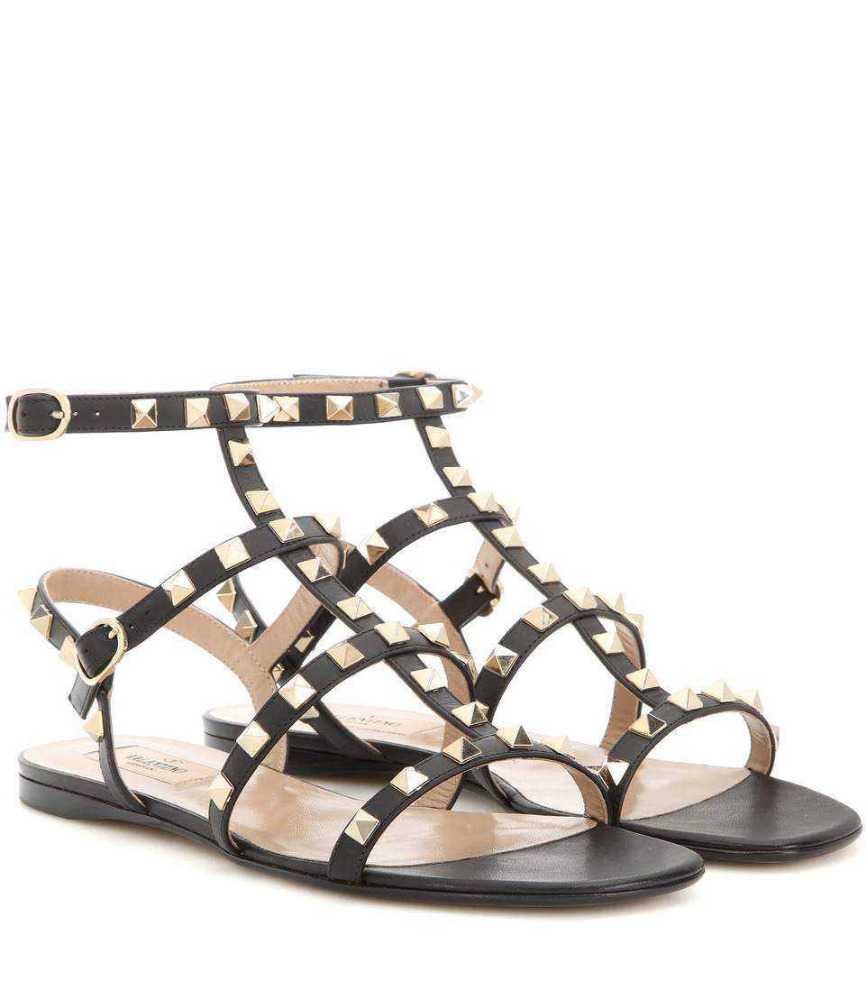 10Mm Rockstud Leather Sandal, Black
