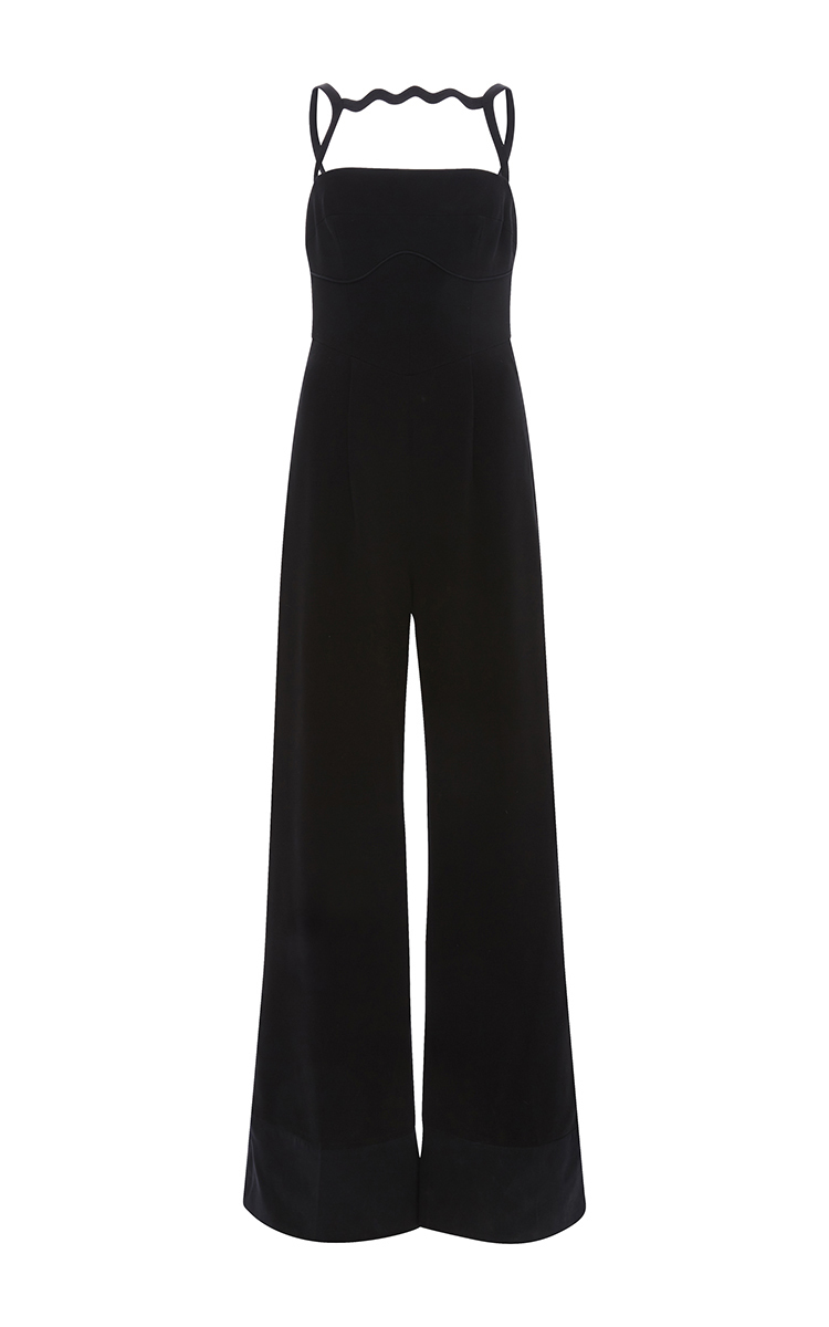 MARY KATRANTZOU Moss Silk-Blend Crêpe Jumpsuit in Black