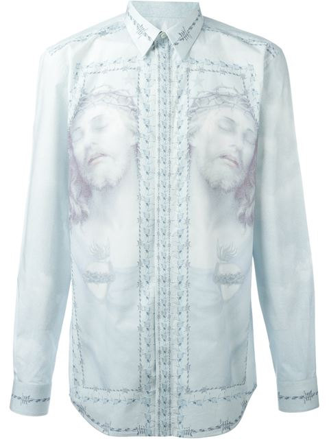 GIVENCHY BLUE JESUS & BARBED WIRE SHIRT | ModeSens