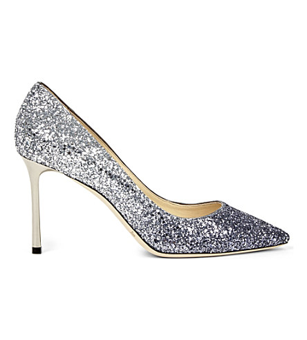 Romy 85Mm Dégradé Glittered Leather Pumps, Navy/Silver