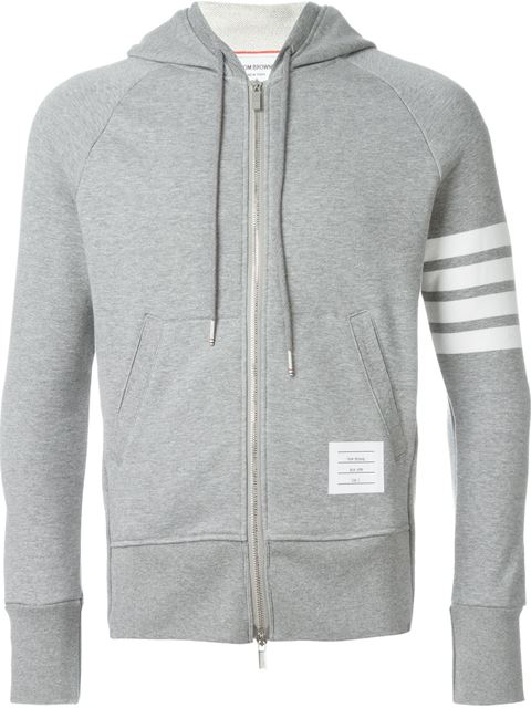 Classic Full Zip Hoodie With Engineered 4-Bar Stripe In Classic Loop Back , Grey