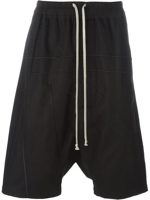 Dropped-Crotch Cotton-Blend Shorts in Black