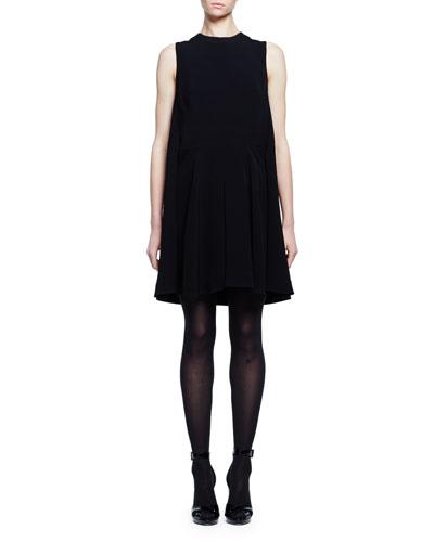 Sleeveless Cape-Back Mini Dress, Black