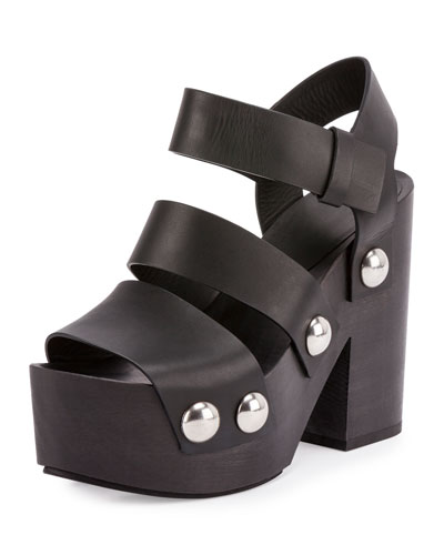 Tess Three-Strap Platform Sandal, Black