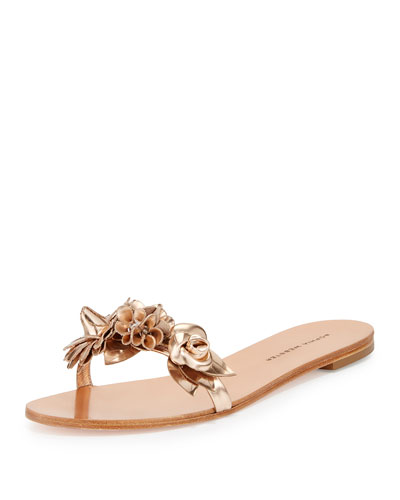 Lilico Metallic Rosette Sandal Slide, Rose Gold, Metallic Rose-Gold