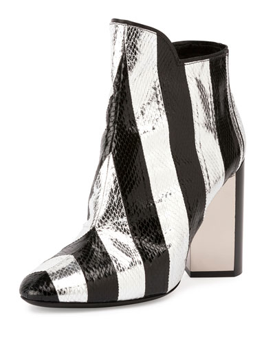 Belle Striped Snakeskin Ankle Boot, Black/Silver , Multicolored