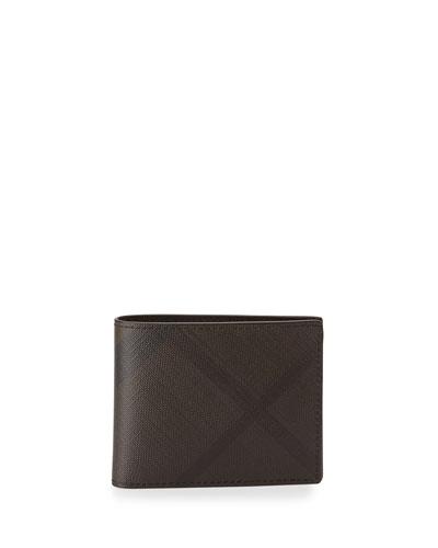 BURBERRY Smoke Check Hip-Fold Wallet, Chocolate/Black