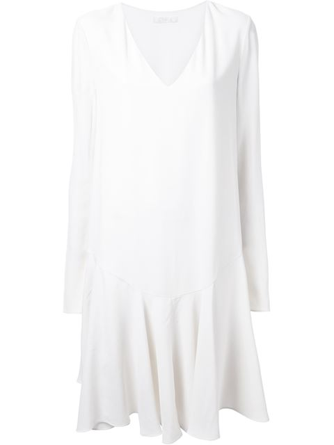 Chloé Drop Waist Pleated Dress - White