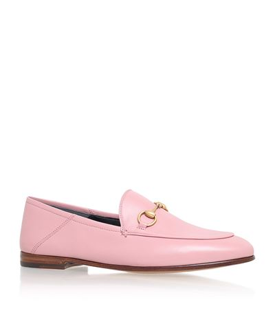 Brixton Horsebit-Detailed Leather Collapsible-Heel Loafers in Light Pink