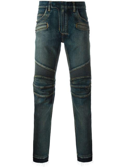 Slim-Fit Blue Cotton Denim Biker Jeans