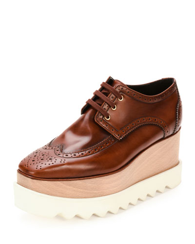Elyse Brogue Faux-Leather Platform Oxford, Mahogany in Brown