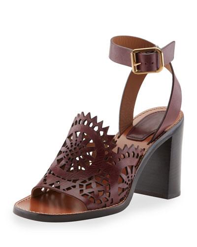 Chloé Leather Laser Cut Sandals best for sale 5pzKLKC