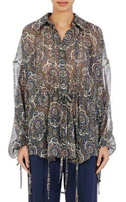 Oversized Silk Paisley Blouse, Blue/Green/White, Khaki/ Multi