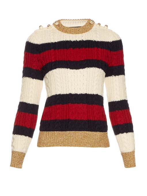 Striped Wool Knit Top, Bone/Blue/Red, Bone/Blue/Red/Blu