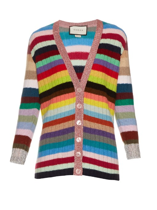 Metallic-Trimmed Striped Cashmere And Wool-Blend Cardigan, Multicoloured Rainbow Stripes