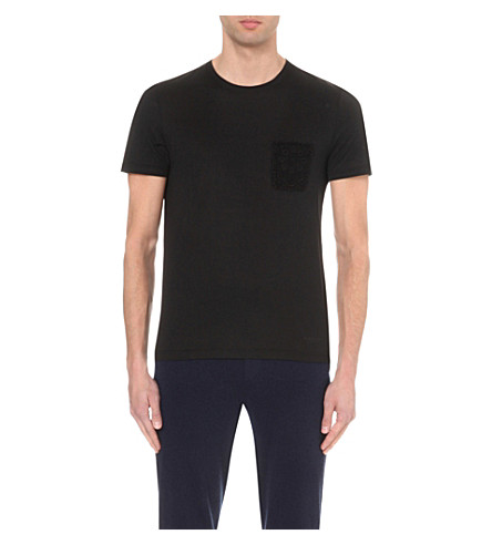 Rope Embroidered Pocket Cotton T-Shirt, Black