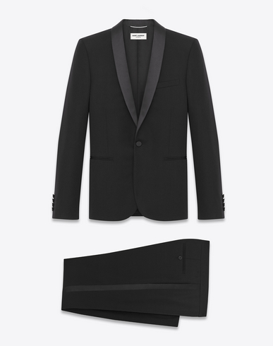 Iconic Le Smoking Suit In Black Textured Virgin Wool