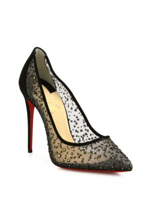 Follies Strass-Embellished Red Sole Pumps, Black