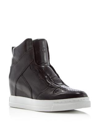 Clone Leather Hidden-Wedge High-Top Sneaker, Black