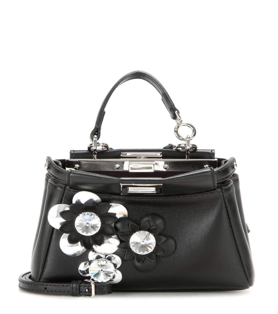 Micro Peekaboo Embellished Leather Shoulder Bag in Llack Silver Palladium