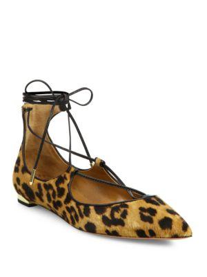 Christy Leopard-Print Calf Hair Point-Toe Flats in Leopard Print