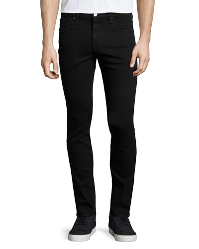 Frame L Homme Skinny Fit Distressed Stretch Denim Jeans In Black