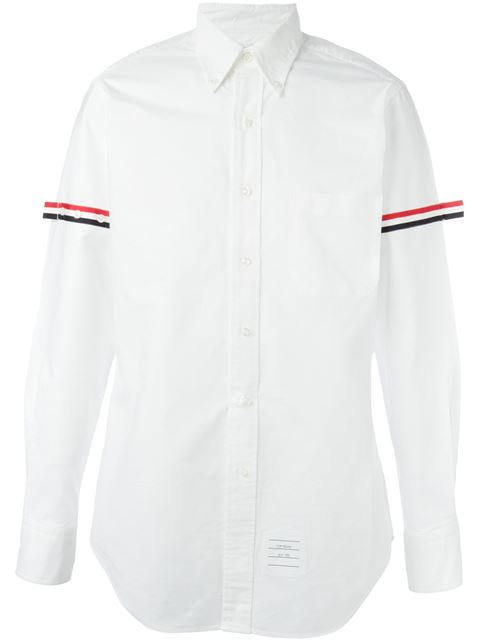 THOM BROWNE Signature-Stripe Armband Regular-Fit Cotton-Twill Shirt in White