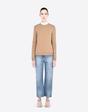VALENTINO Rockstud Untitled Cashmere Sweater, Camel