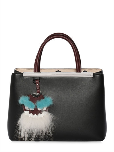 'Petite 2Jours' Leather Shopper With Genuine Mink Fur & Genuine Fox Fur Monster Charm, Black
