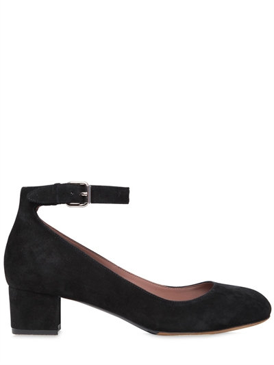 f82ff9c3a6d4 TABITHA SIMMONS MARTHA VELVET MARY JANE ANKLE-STRAP BLOCK-HEEL PUMPS