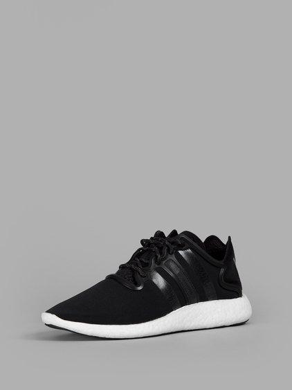 Yohji Run Suede-Trimmed Neoprene Sneakers, Black