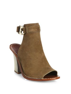 a260927f9d3 TORY BURCH Gemini Link Suede Peep-Toe Block-Heel Sandals
