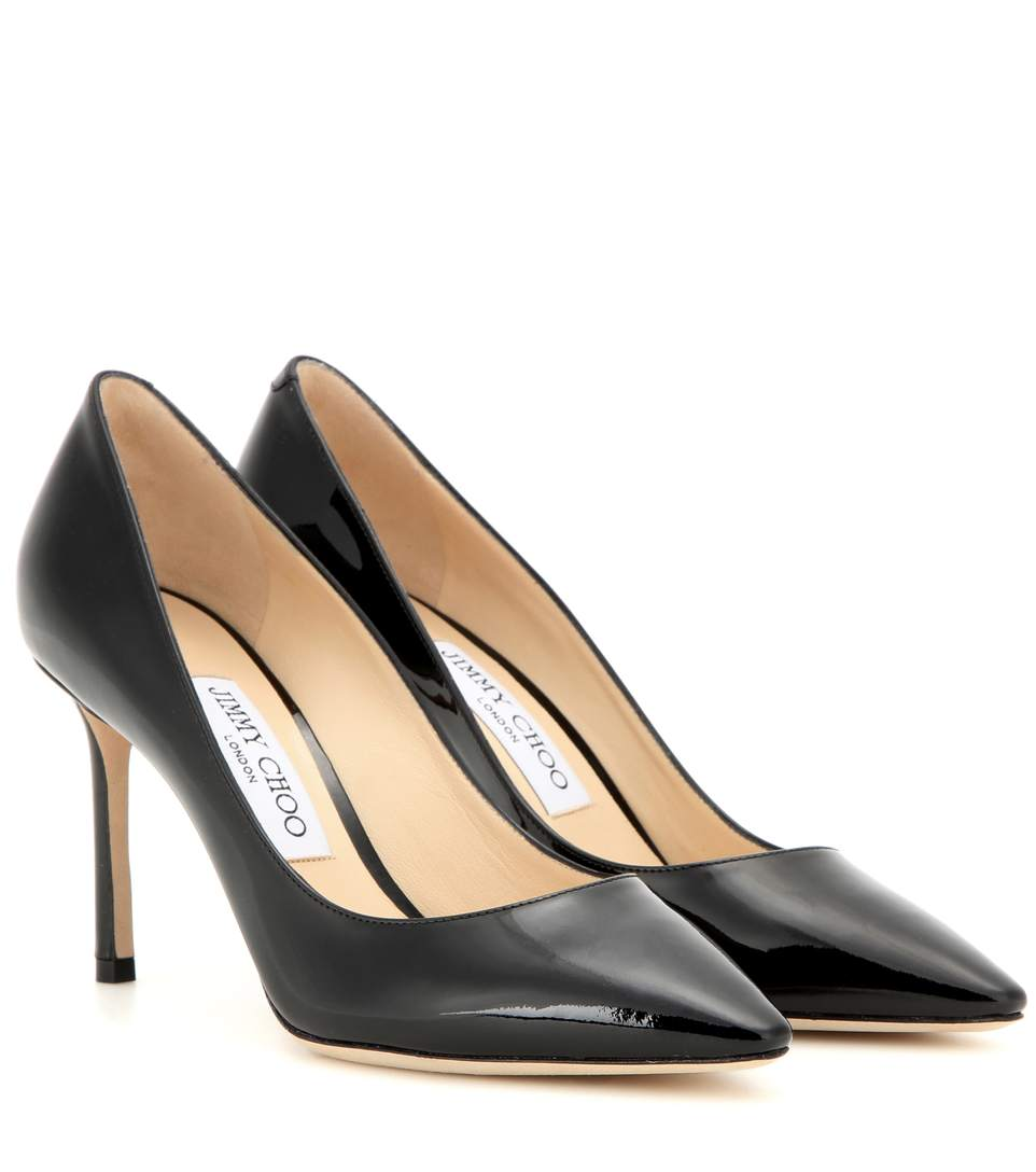 Ava 100 Black Liquid Leather Pointy Toe Pumps from Jimmy Choo