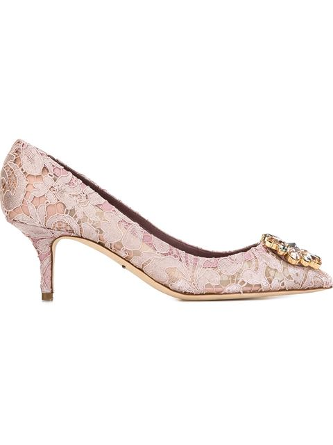 'Bellucci' Jewel Brooch Taormina Lace Pumps in Pink