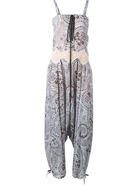 Floral Drop-Rise Sleeveless Jumpsuit - Purple/Brown Size 34 Fr