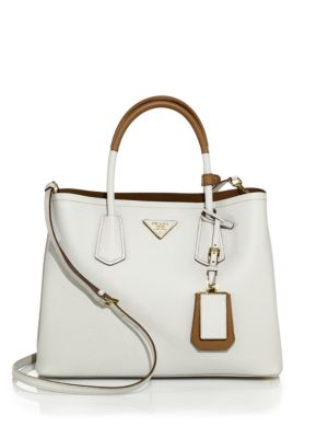 Medium Bicolor Leather Satchel, White