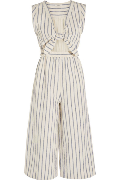 0c55462b91c MADEWELL Tie-Front Cutout Linen And Cotton-Blend Jumpsuit